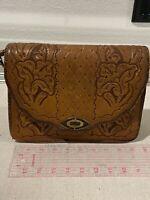 Vtg Hand Tooled Leather Floral Western  Purse Handbag Clutch/Shoulder bag
