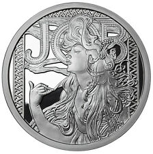 ALPHONSE MUCHA JOB 1 OZ SILVER COIN #1 IN SERIES COLLECTION #COA ANONYMOUS MINT