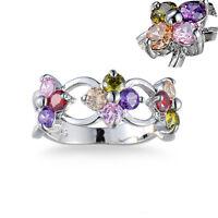 Ruby Garnet Silver Plated Colorful Rhinestone Flower Rings Natural Tanzanite