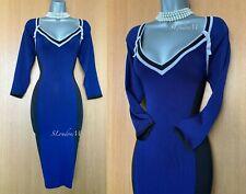 Karen Millen Blue Black & Grey Fine Knit 3/4 Sleeve Office Work Jumper Dress 2