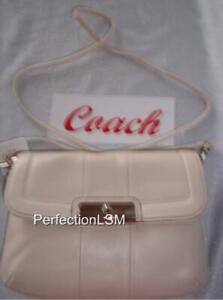 NWT COACH Kristin Leather Petite Crossbody White Mist 45128 converts to a clutch