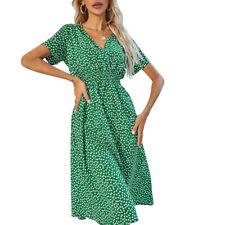 Women's Holiday Boho Print Long Dress Ladies V Neck Short Sleeve Beach Sundress