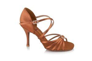 "Freed of London Sophia latin / salsa dance sandal dark tan 2.5"" / 2"" flare heel"
