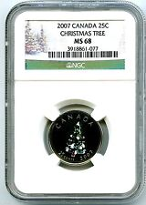 2007 CANADA 25 CENT NGC MS68 CHRISTMAS TREE QUARTER RARE < 10,000 MINTED !!