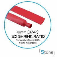 """3/4"""" Heat Shrink Tubing Wire Cable Wrap Electrical Connection 2:1 Ratio Red 120"""""""