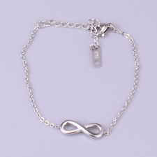 """8 Anklet Foot Ankle Chain Pe10  00006000 Adjustable 10"""" Silver Stainless Steel Infinity"""