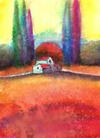 ACEO Italy landscape miniature surreal abstract fantasy original painting art