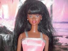 African American Black Barbie Doll Long Hair wearing Pink Gown Dress Earrings