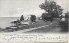 Lake Ontario and Quartermaster Bldg Madison Barracks Sacket Harbor NY used 1906
