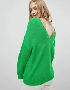 New Ladies Ex ASOS DESIGN Relaxed Jumper With V-Back In Green Sizes 8-18 RRP £28