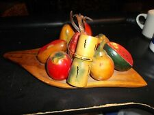Vintage Hand Carved Tropical Fruit Wooden Tray Guatemala 1970s Centerpiece Nice