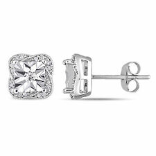 Amour 10k White Gold Diamond Twisted Square Halo Stud Earrings