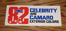 1982 Chevrolet Celebrity & Camaro Exterior Colors Sales Brochure 82 Chevy