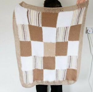Vintage Handmade Granny Square Crochet Brown White Blanket Throw Knit