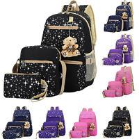 Women Backpack Girl School Satchel Shoulder Bag Rucksack Canvas Travel Bags 3PCS