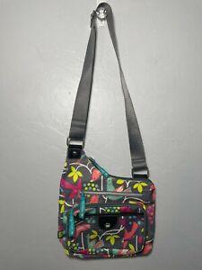 Lily Bloom grey with birds crossbody purse bag