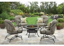 Fire Pit Patio Furniture 5 Piece Outdoor Chat Set Firepit Table 4 Motion Chairs