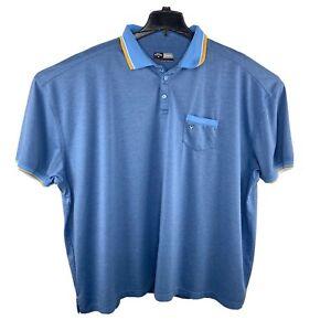 Callaway Opti Dri Polo Golf Shirt Sz 4XL Short Sleeve Blue Stretch Pocket EUC