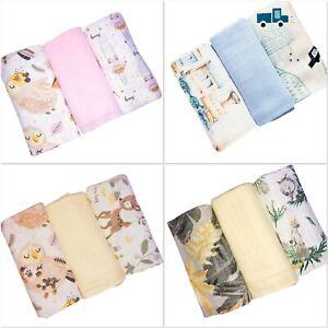 ✅3pack LARGE Super Soft Baby Cloths Muslin 70x80cm blanket burp bib changing mat