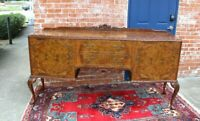 Beautiful Antique Burled Walnut Queen Anne Sideboard Cabinet / Buffet Bar