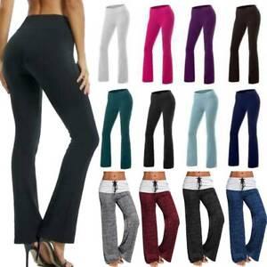 Women High Waist Flare Bootcut Yoga Pants Ladies Wide Leg Cotton Casual Trousers