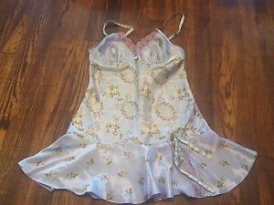 Victoria's Secret Angels Nightie Chemise Teddy Small Lavender Floral