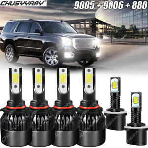 Combo 9005+9006+880 LED Headlight Fog Bulbs For GMC Yukon Denali 2001-2005 2006