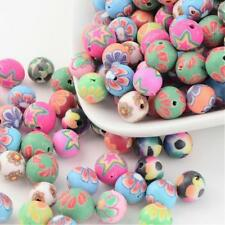 50 MIXED FIMO POLYMER CLAY  8MM FLOWER ROUND BEADS - FREE & FAST P&P