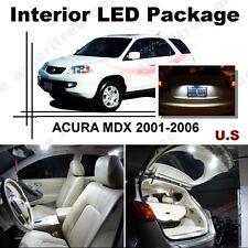 For Acura MDX 2001-2006 Xenon White LED Interior kit + White License Light LED