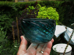 Mark Bickers Rare Early Art Glass Bowl In Turquoise - Pre Rothschild & Bickers