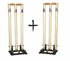 Pack Of 2 Wickets Stumps Set Heavy Wood & Metal Stand Base Return Spring Cream