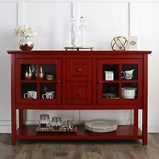 """Walker Edison W52C4CTRD 52 """" Wood Console Table Tv Stand Antique Red NEW"""