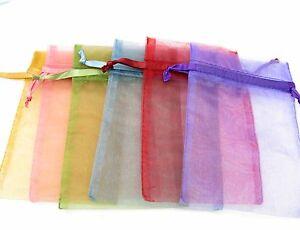 Lot 50x Assorted Mix Colour Organza Voile Favour Party Favour Bags Pouches 7x9cm