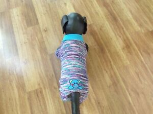 pet dog pajamas,stretchy blue&multi-color stripes,Small*(read size details)