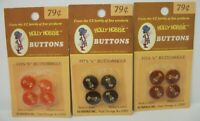 """3 Packs NOS Vintage Holly Hobbie Sewing Buttons for 1/2"""" Buttonholes - 3 Colors"""