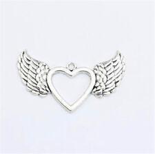 50pcs Tibetan Silver Nice Angel Wing Heart Charms Pendants 20x12mm