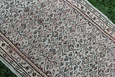 "Vintage Handmade Turkish Oushak Wool Muted Gray Runner Rug Carpet 80""x38"""