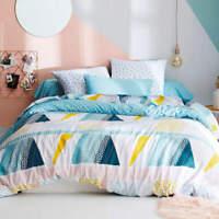 Miami 100% Cotton Geometric Blue Ochre Soft Duvet Cover Bed Linen Bedding Set