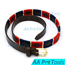Genuine Leather Polo Belt Navy Blue & Red Color Hand Woven Pattern 87cm BLT-03