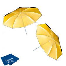 "Phot-R 2x 33"" Black&Gold Studio Reflector Collapsible Umbrella Microfibre Cloth"