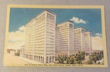 New Center District GENERAL MOTORS BUILDING Detroit MI vintage linen postcard