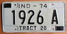 Indiana 1974 TRACTOR License Plate # 1926 A