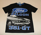 Ford XB Falcon 351 GT Boys Black Printed Cotton Short Sleeve T Shirt Size 7 New
