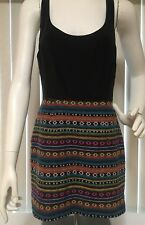Dolce Vita Dress Sleeveless M Medium Black Multi Colored Silk Embroidered Sexy