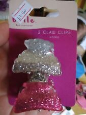 2pc Pink / Silver Glitter Effect Midi Claw Clips - Belle