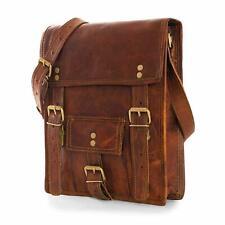 Shoulder Laptop Briefcase Bag Polished Genuine Vintage Brown Leather Messenger