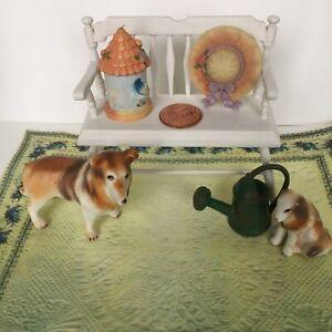 1:12 scale, Dollhouse pet, 2 Collie Dogs, Magic Carpet Miniature, white bench.