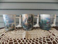 3 Thomas Kinkade A8612 Seaside Inspiration Heirloom Porcelain Mugs 1st Set 2002