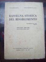 1937 RASSEGNA STORICA DEL RISORGIMENTO: RICASOLI, GENERALE BONELLI G. MONTANELLI