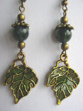 Green Enameled Leaf Earrings Moss Agate Gemstone Beads Hedgewitch Pagan